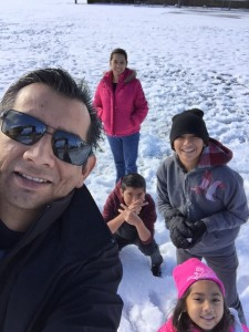 This is a photo of us having fun in the snow. My wife, Irene, my sons, Samuel and Mark and my daughter, Richelle. We live in Southern California, so snow is a pretty big deal for us.