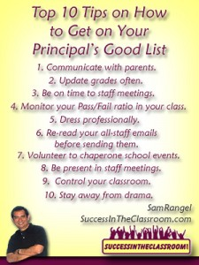 Top Ten Tips to Get on Principal's Good List