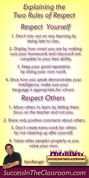 Respect Yourself and Respect Others Classroom Rules