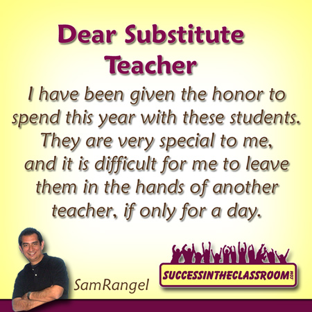 Letter to a Substitute – Take Care of My Kids